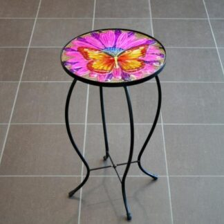 Glass Top Iron Stand Table